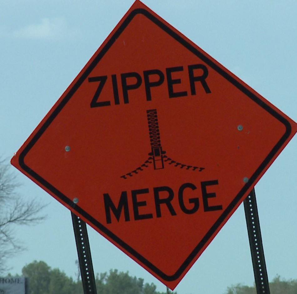 Zipper Merge sign